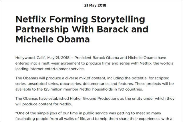 Netflixはオバマ前大統領とパートナーシップ締結を発表