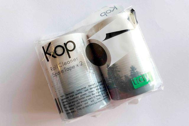 専用テープは別売で購入可能。サイズは内径38×幅80mmなので、市販の同一サイズの粘着テープでも使用可能