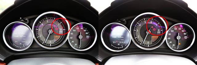 左が改良後、右は改良前のロードスターRFのメーター。改良後はレッドゾーンに入る回転数が高められている