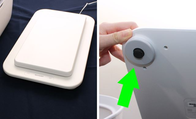 Wi-Fiユニットもこのセンサーユニット部に内蔵する。なお、脚部が重量の測定部になっている(写真右)