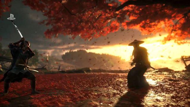 夕焼けをバックに紅葉が舞う戦闘シーン
