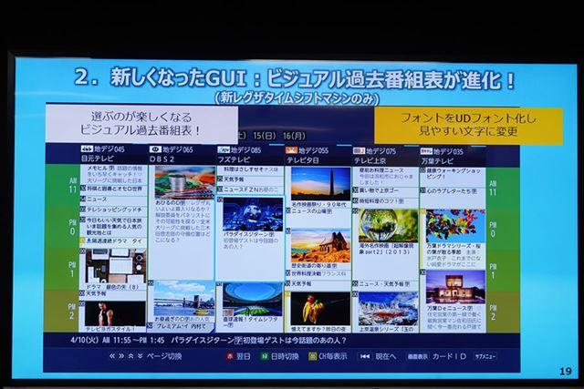 東芝オリジナルの「ビジュアル過去番組表」をブラッシュアップ