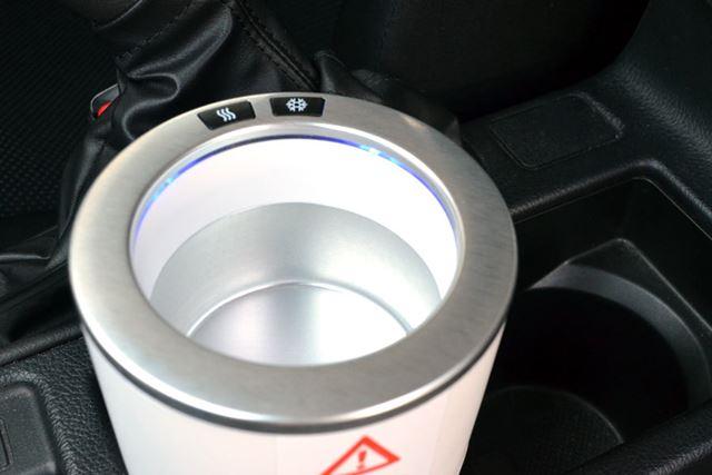 湯気のマークのボタン(左)で温めることができ、雪の結晶のマークのボタン(右)で冷やすことができます