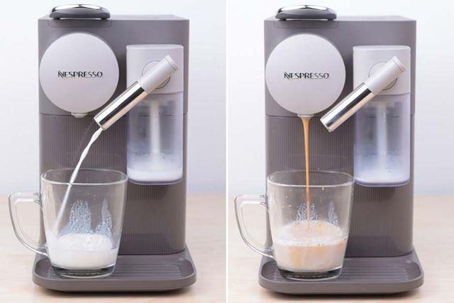 フォームドミルクとコーヒーが混ざり合った褐色の色合いがなんとも美しく、思わず唾をゴクリ