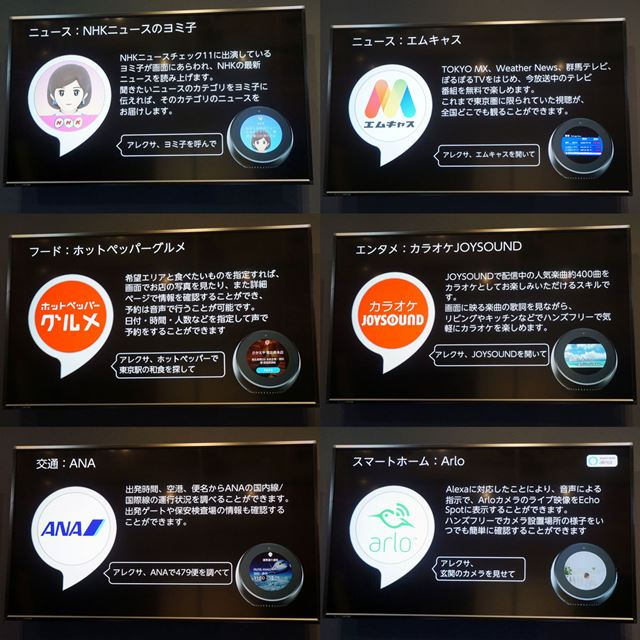 Echo Spotの発売開始に向け、液晶ディスプレイを生かしたAlexaスキルの開発も着々と進んでいるようだ