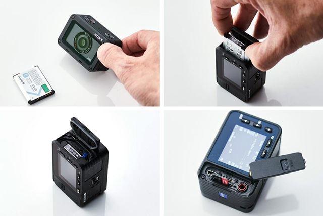 小さなボディには、バッテリーとmicroSDカードスロットが装備されています(防水仕様)