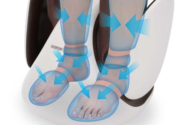 足先からふくらはぎにかけては、4枚(片足)のエアーバッグがしぼるようにマッサージします