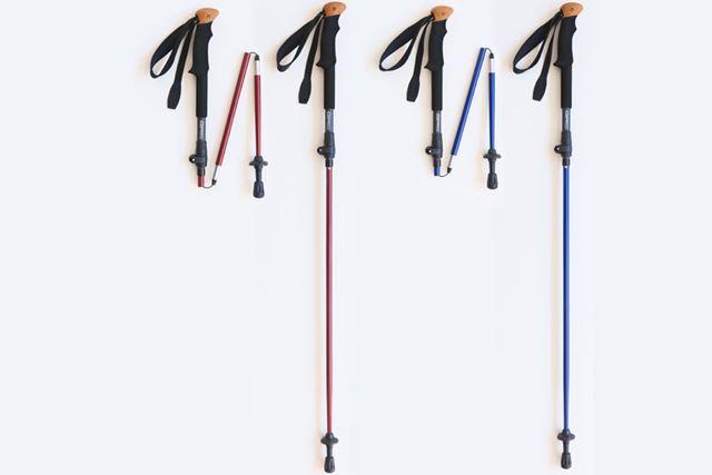 使用時の長さは100〜120cmで、重量は1本232g。カラーはレッド、ブルー、ブラックをラインアップ
