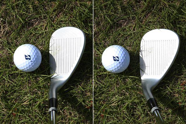 左が真っすぐ構えた状態、右がフェースを開いて構えた状態