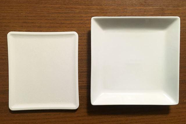 左がエコカラット トースト皿、右が普段使っている陶器のお皿
