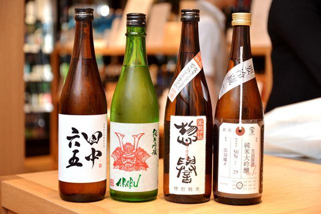 左から、純米酒、純米吟醸酒、特別純米酒、純米大吟醸酒