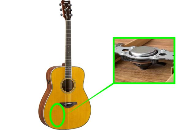 裏板の内側に搭載するアクチュエーター(加振器)で、エフェクト信号を振動に変換してギター全体に伝えます