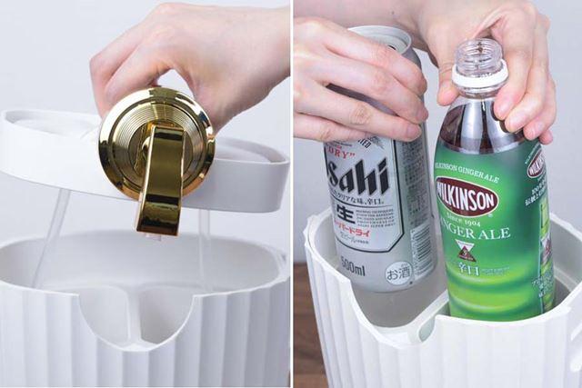 中ぶたを外し、左右のタンクにフタを開けたビール缶と、缶もしくはペットボトルのジュースを1本ずつ入れる