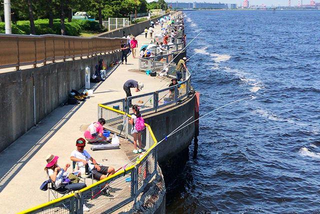 海上に波形に大きくせり出した桟橋が特徴的