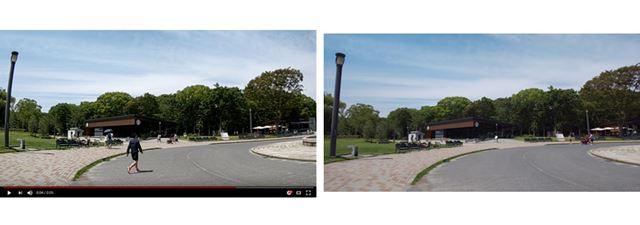 AQUOS R2 動画(手ブレ補正ON)(左)、AQUOS R2 静止画(右)