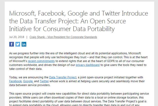 マイクロソフトやGoogleほか、Facebook、Twitterが同プロジェクトに参加(マイクロソフトの公式サイト)