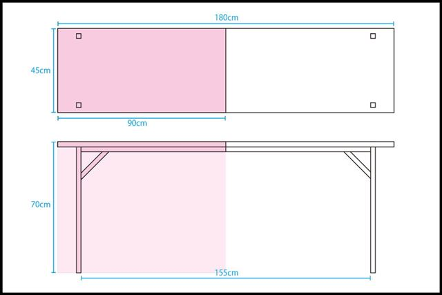 ※一般的な長机のサイズですが、会場などによって違いがある場合があります