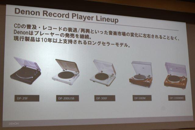 こちらが、デノンのレコードプレーヤー現行機種。いずれも10年以上におよぶロングセラー機種だ