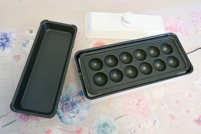 2×6のたこ焼きプレートに加えて、平面プレートも付属。もちろんたこ焼き以外の料理も作れます