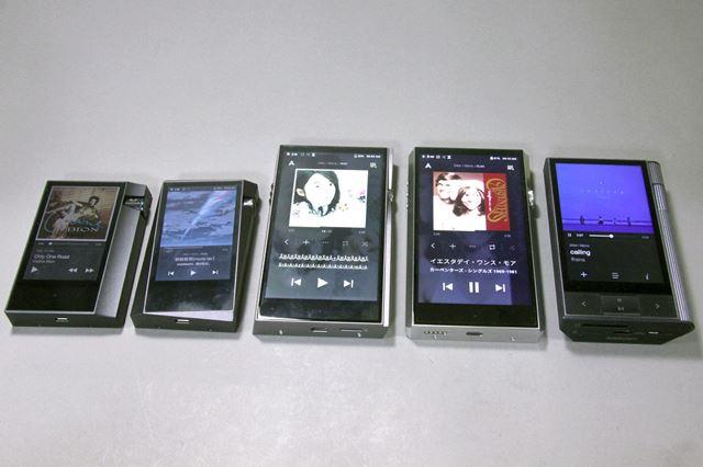 写真左から「AK70MKII」、「A&norma SR15」、「A&futura SE100」、「A&ultima SP1000」、「KANN」