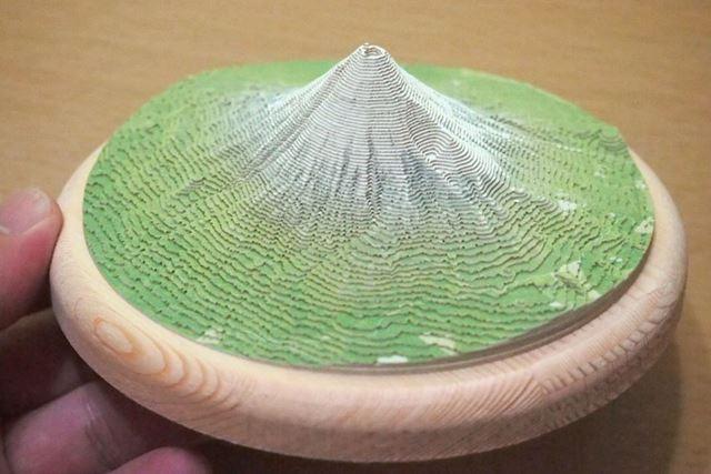 南側から見下ろした「手のり富士山」。高さの比率は実物の1.5倍に強調されています