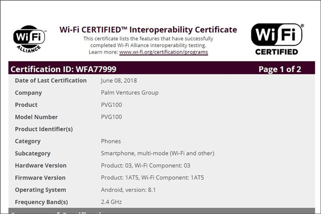 Palm Ventures Groupが取得したWi-Fi Allianceの認証