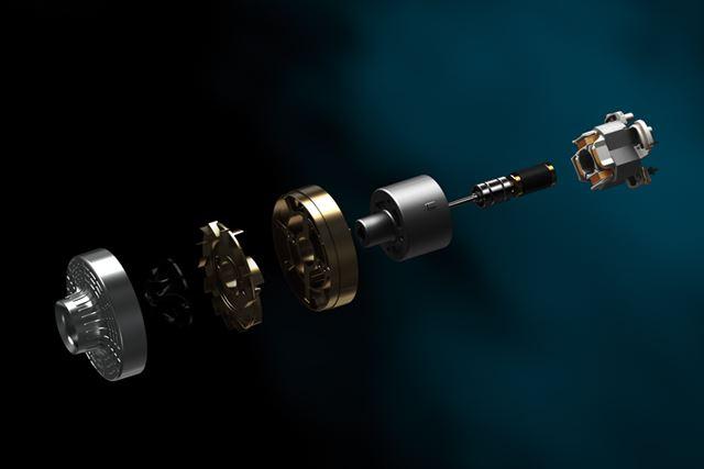 JCモーターの分解イメージ。超高速回転と高効率化を実現し、吸引性能を向上させています