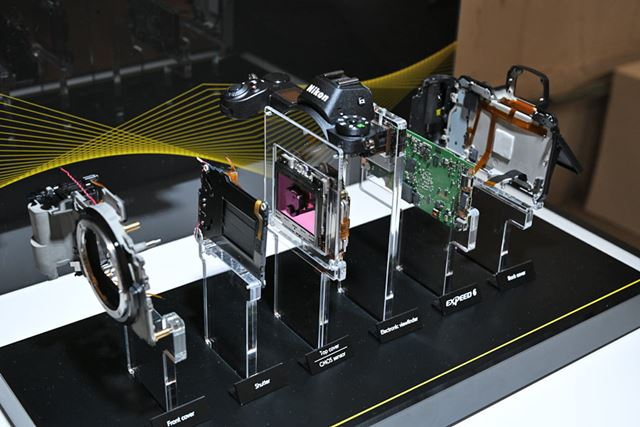 Zシリーズの分解模型。薄型ボディにシャッターユニットなどの機構をしっかりと収めている