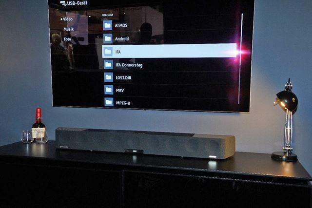 立体音響技術「AMBEO」を利用したサウンドバーのデモも行われていた