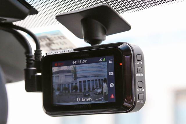 DRV-MR740のフロントガラスへの取り付けイメージ