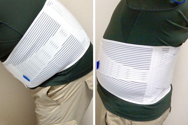 前屈してもおなか部分は苦しくありません。のけぞっても肩甲骨周りへの干渉はなし。自在に動けます