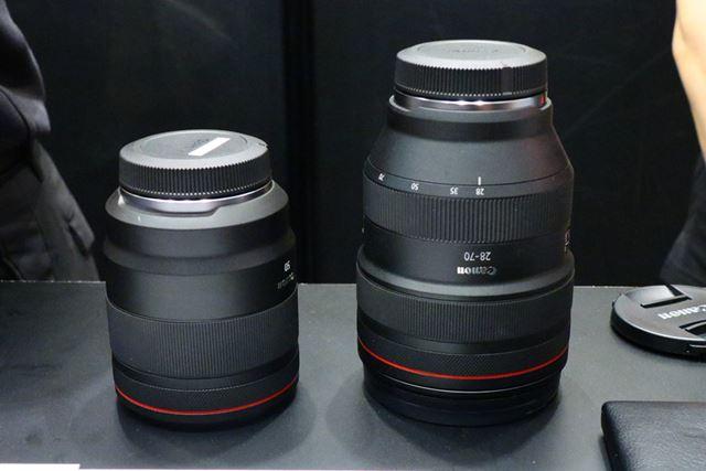左がRF50mm F1.2 L USM、右がRF28-70mm F2 L USM。さすがにこの2本は大きくて重い