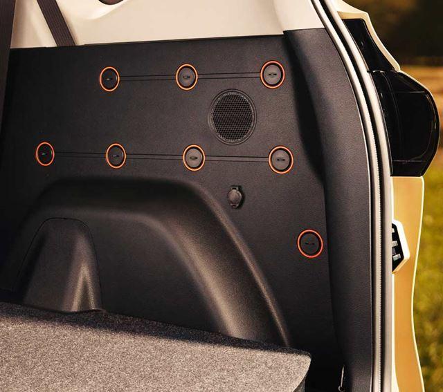 シエンタの2列シート車「FUNBASE」には、ラゲッジルームのサイドに「ユーティリティホール」が備え付けられている。このユーティリティホールに、ナットやポールを取り付けることで、フレキシブルに活用することができる