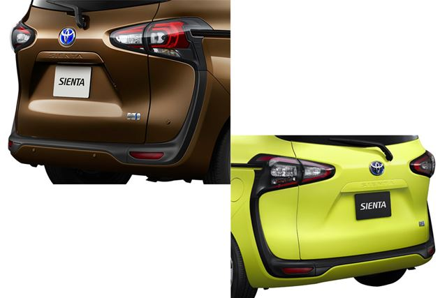トヨタ「シエンタ」のマイナーチェンジ後(左上)とマイナーチェンジ前(右下)のリアイメージを比較