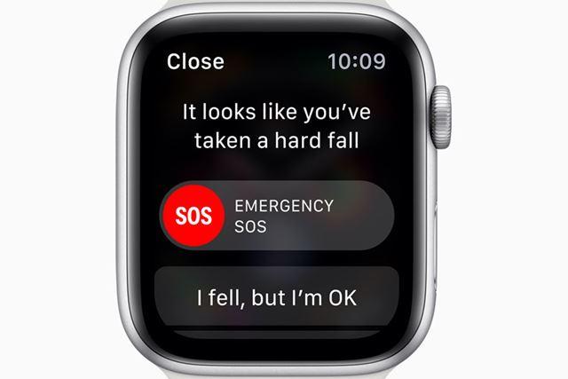 落下を検知して警告を表示。ユーザーからの応答がない場合は自動で緊急通報を行う