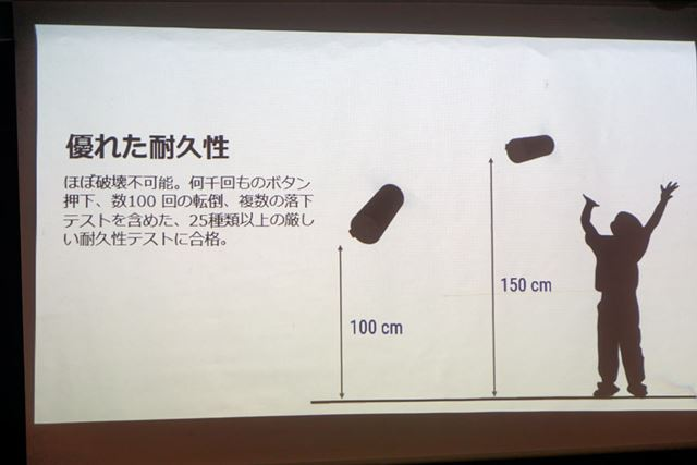 耐久性も向上。「MEGABOOM 3」は約1m、「BOOM 3」は約1.5mの高さから落としても大丈夫だという