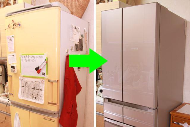 最新のガラス扉の冷蔵庫は、マグネットが貼り付きません。冷蔵庫の佇まいがシンプルになりました