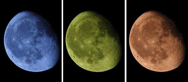 月モードで撮影した写真を3枚並べてみた。月モードはダイヤル操作で手軽に色合いを変えられるのが面白い