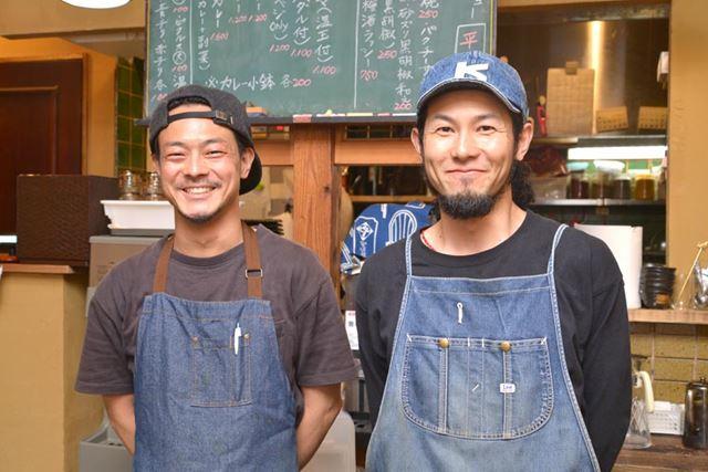 「旧ヤム邸 シモキタ荘」のスタッフ遠藤僚さん(左)と西嶋勇さん(右)