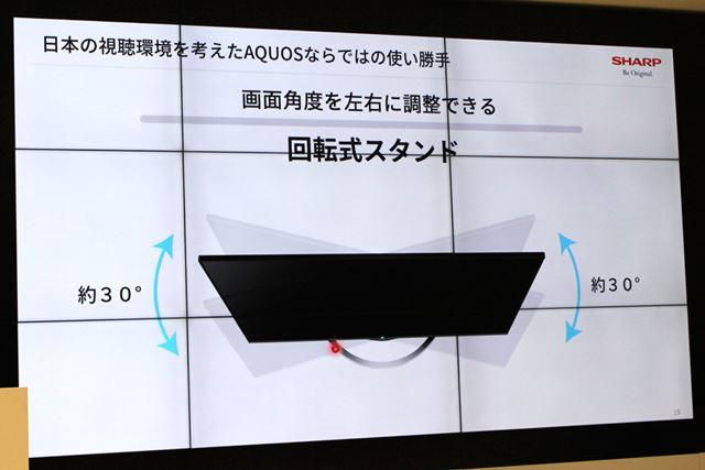 画面角度を左右それぞれ約30°に調整できる回転式スタンド構造も。ちなみに自動ではなく手動