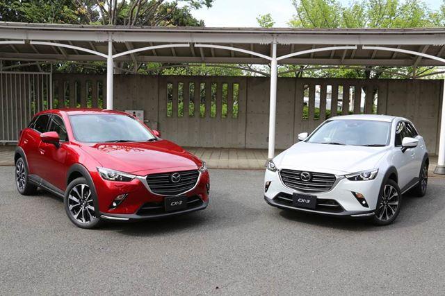マツダ「CX-3」左がクリーンディーゼルエンジン搭載モデル、右がガソリンエンジン搭載モデル