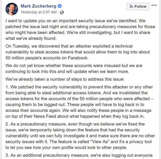 マーク・ザッカーバーグ氏自らがサイバー攻撃について説明