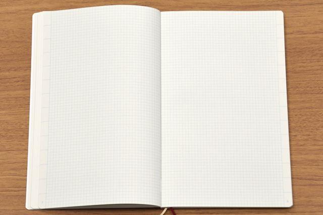 3mm方眼罫のノートページ。小口側には14項目のタブスペースを設置。ページ番号もあらかじめ振ってある
