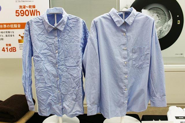 大風量の温風を衣類に吹きかけて、シワを伸ばしながら乾燥する「シワ抑え」乾燥コースも搭載