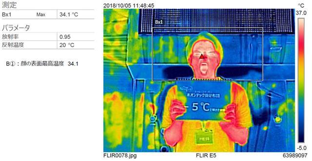 顔の表面最高温度は、34.1℃