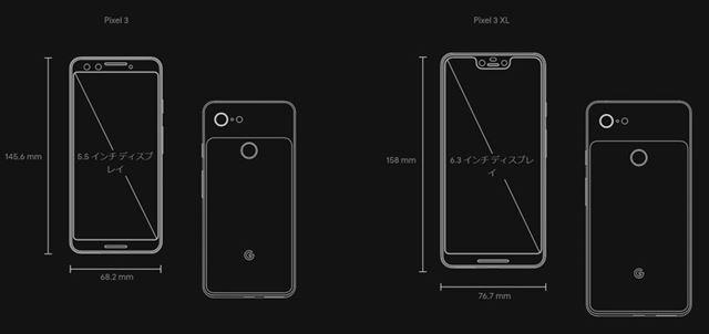 「Pixel 3」と「Pixel 3 XL」の本体、ディスプレイサイズ