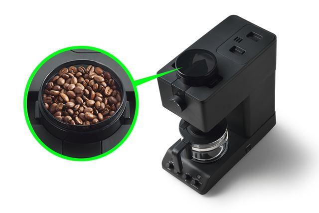 コーヒー豆を入れて使う全自動型で、スタイリッシュなデザインも魅力。付属するジャグの容量は450mlです