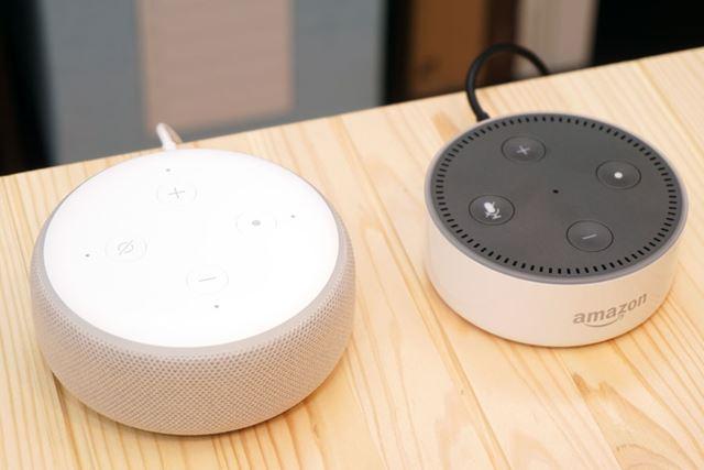 第3世代「Echo dot」は従来機からわずかに大型化して丸みを帯びたデザインになった