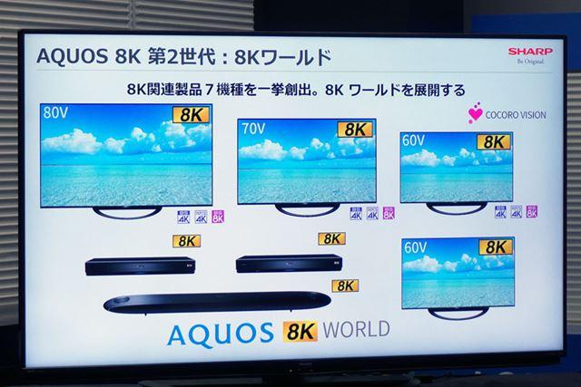 8K放送に対応した「AQUOS 8K」シリーズを一挙投入
