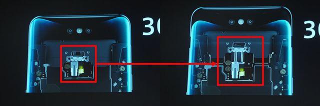 端末内部のモーターがカメラ部を押し上げる構造